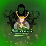 """Text says """"Ami Ireland - Undercover superhero"""", green background. Cartoon female figure with horned crown and Loki image shadow in the background"""